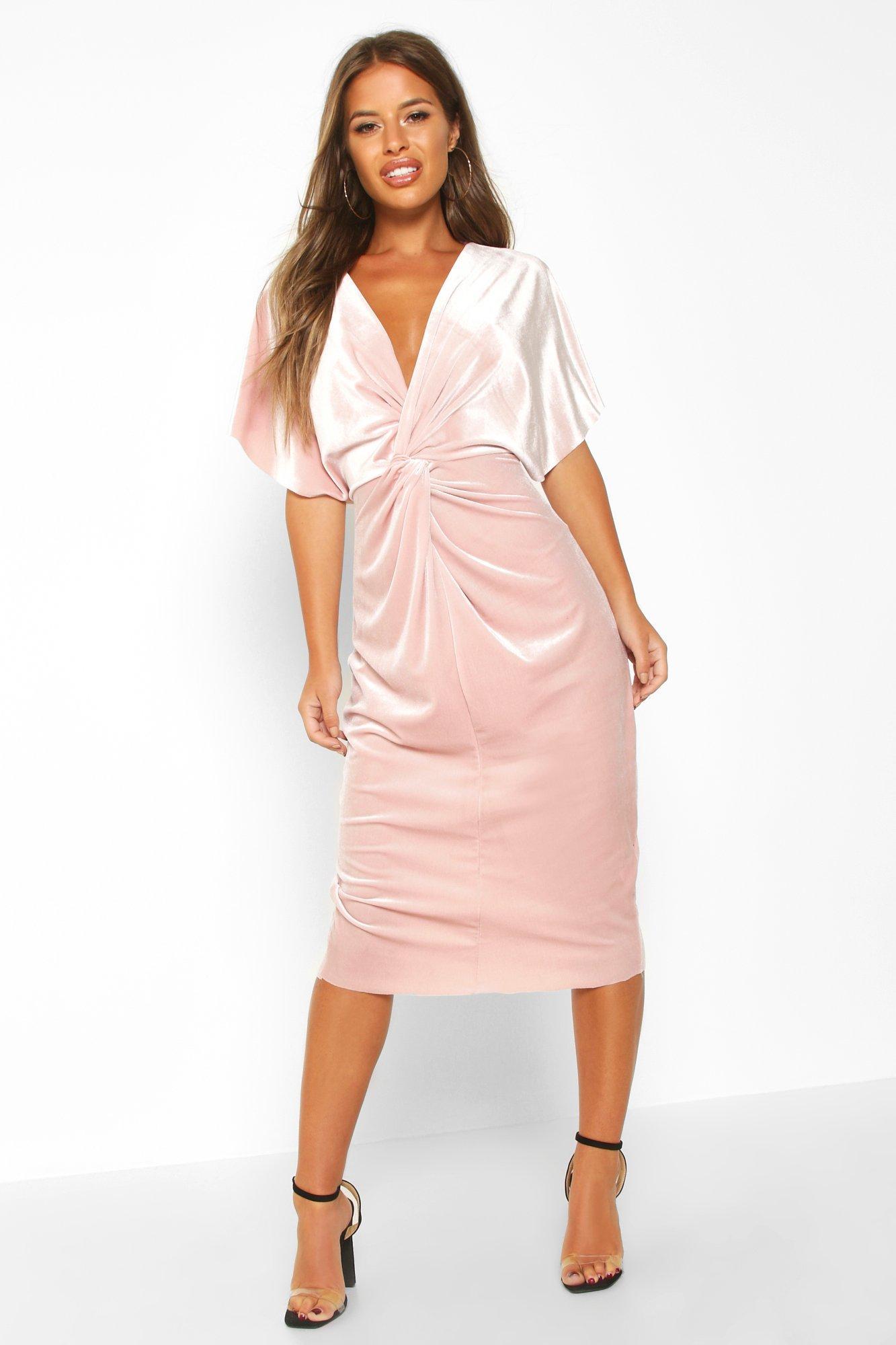 £5 Dresses Petite Velvet Twist Front Midi Dress