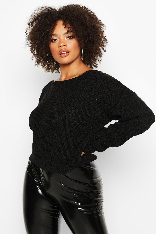 Womens Plus Cropped Pullover mit U-Boot-Ausschnitt - schwarz - 42, Schwarz - Boohoo.com