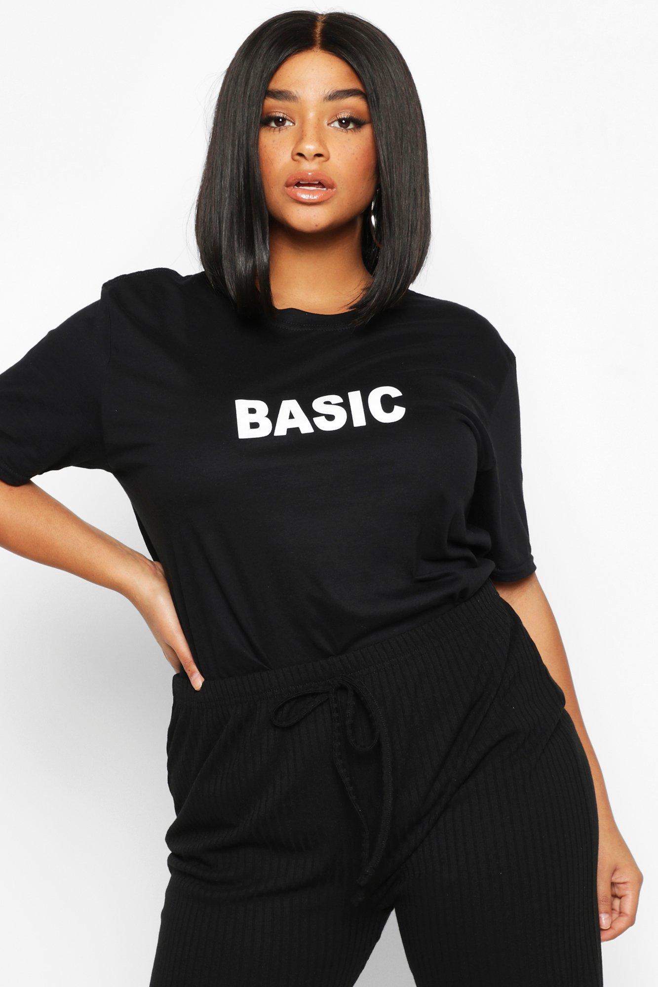 Womens Plus 'Basic' T-Shirts - schwarz - 50, Schwarz - Boohoo.com