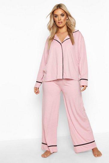 Blush Plus Long Sleeve Button Through Jersey PJ Set