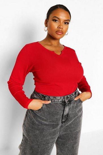 Red Plus Rib Notch Front Longsleeve T-Shirt