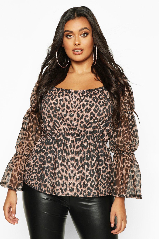 Womens Plus Schößchentop mit Leoparden-Print, Netzärmeln und Karree-Ausschnitt - Braun - 44, Braun - Boohoo.com