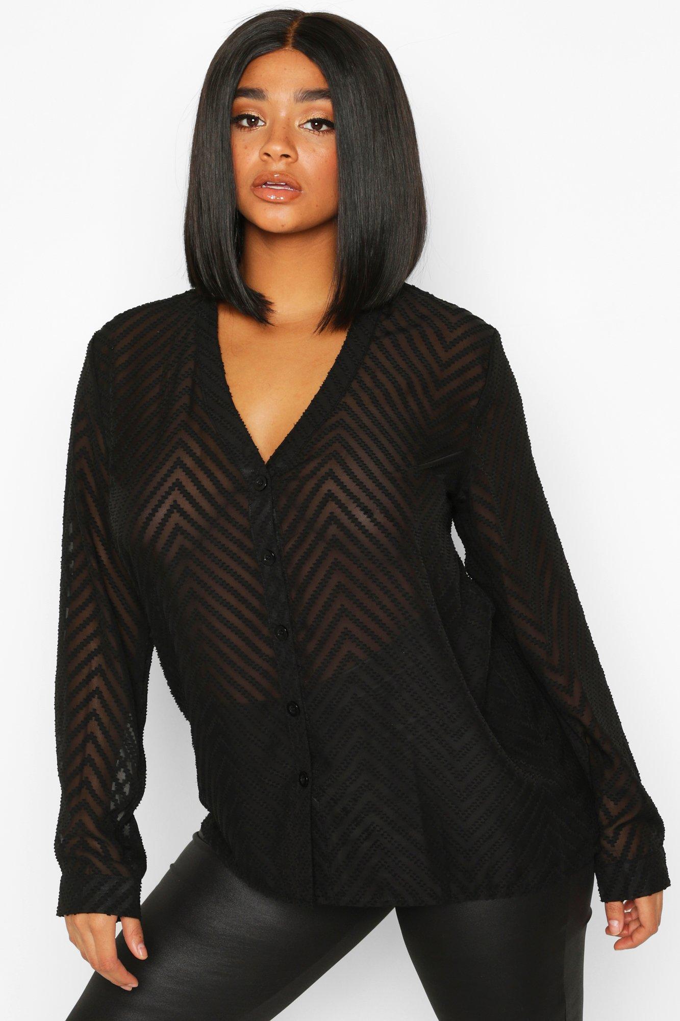 Womens Plus Gestreifte, transparente Bluse mit durchgehender Knopfleiste - schwarz - 42, Schwarz - Boohoo.com