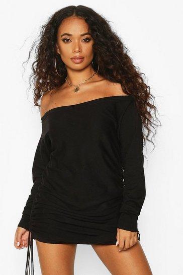 Black Petite Ruched Side Off The Shoulder Jumper Dress