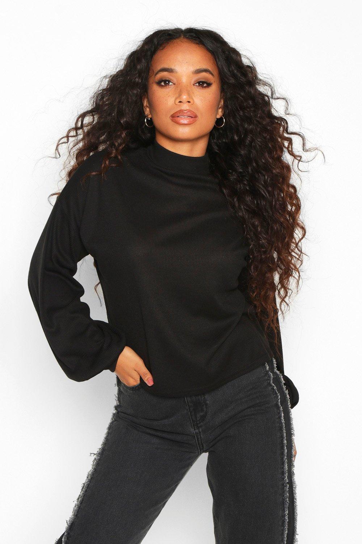 Womens Petite Gerippter Pullover aus Strick mit sehr weiten Ärmeln - schwarz - 32, Schwarz - Boohoo.com