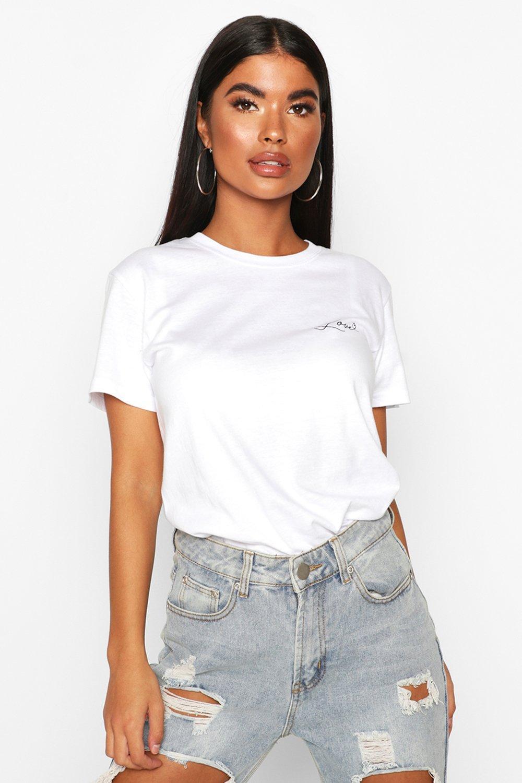 Womens Petite T-Shirt mit Love-Slogan - Weiß - S, Weiß - Boohoo.com