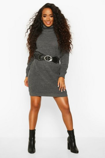 Grey Petite Belted Roll Neck Rib Jumper Dress