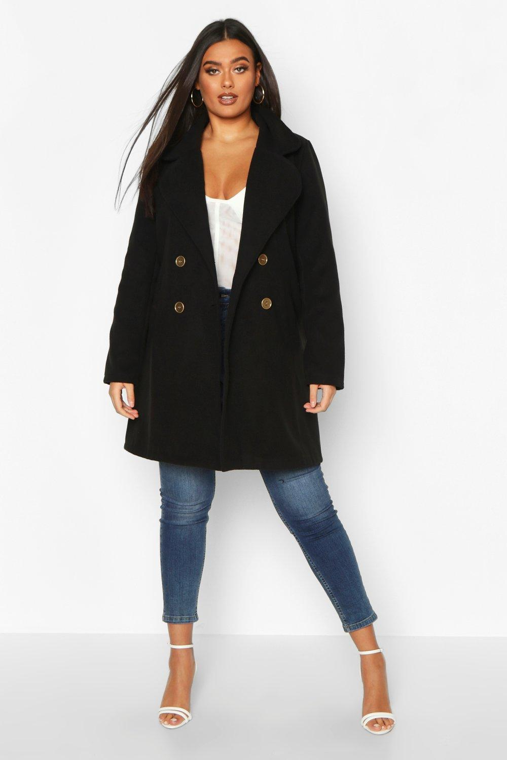 boohoo Womens Plus Double Breasted Button Wool Look Coat - Black - 18, Black