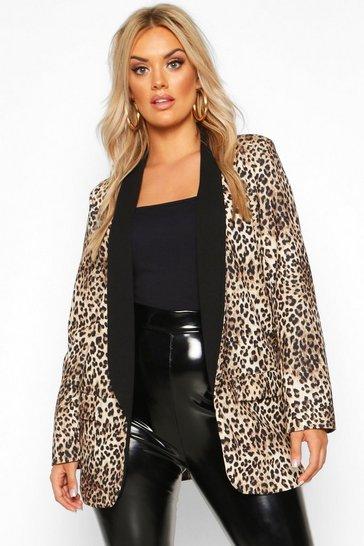 Brown Plus Contrast Lapel Leopard Print Blazer