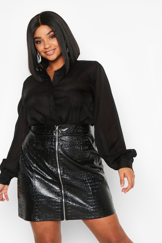 Womens Plus gestreiftes Hemd aus Satin - schwarz - 42, Schwarz - Boohoo.com