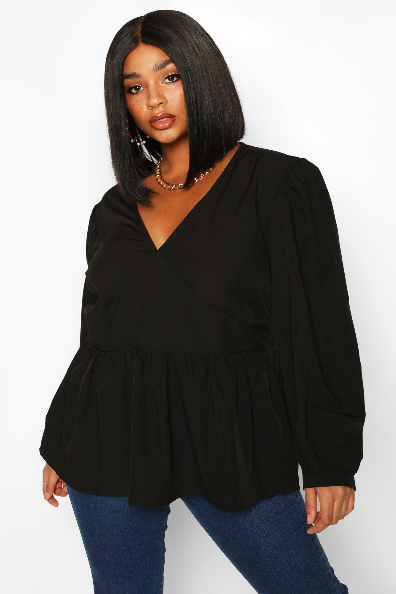 Womens Plus gewebte Bluse mit Oversized-Ärmeln und Schößchen - schwarz - 42, Schwarz - Boohoo.com