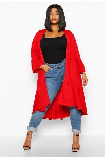 Red Plus Ruffle Hem Midi Kimono