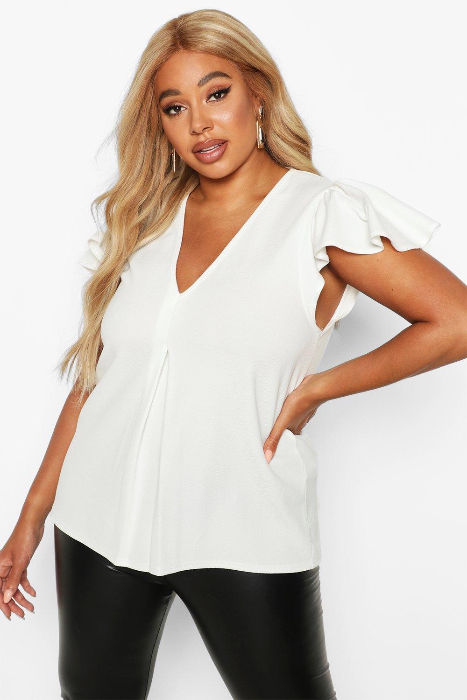 Womens Plus Oberteil mit Zierfalten und überschnittenen Schultern - elfenbeinfarben - 54, Elfenbeinfarben - Boohoo.com