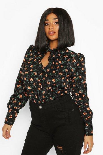 Black Plus Polka Dot Floral Neck Tie Blouse