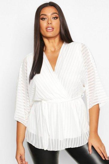 Ivory Plus Stripe Kimono Sleeve Peplum Wrap Tie Blouse