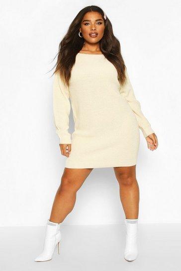 Ecru Plus Slash Neck Knitted Jumper Dress