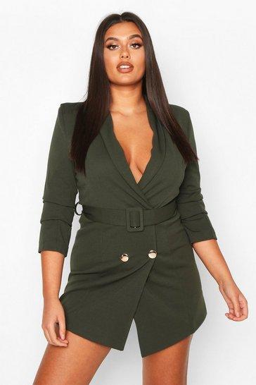 Khaki Plus Double Breasted Gold Button Blazer Dress