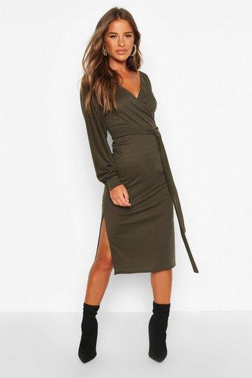 Khaki Petite Wrap Ribbed Midi Dress