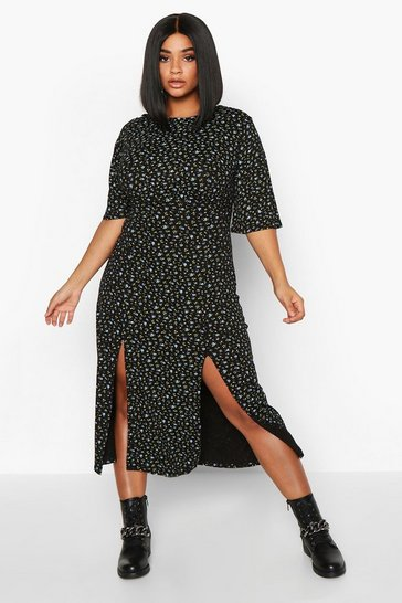 Black Plus Flutter Sleeve Floral Midi Dress