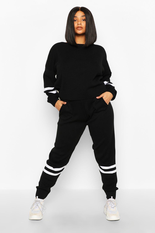 Womens Plus Strickset mit Streifen - schwarz - 50, Schwarz - Boohoo.com