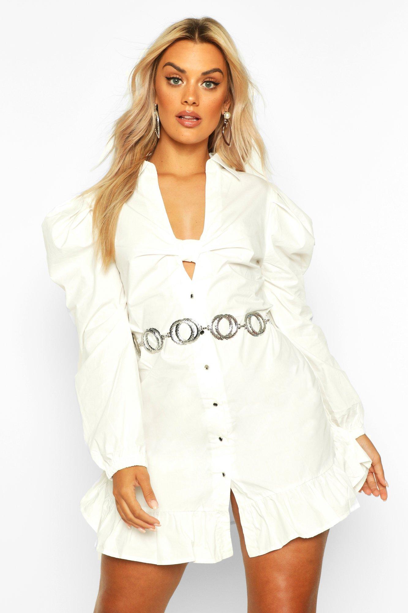 Womens Plus Blusenkleid mit Rüschensaum und Knotenfront - elfenbeinfarben - 42, Elfenbeinfarben - Boohoo.com