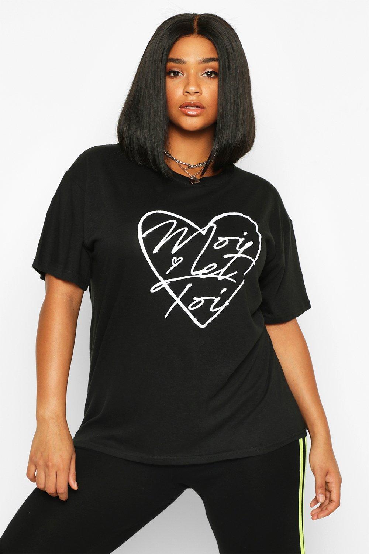 """Womens Plus T-Shirt mit """"Moi Et Toi""""-Schriftzug und Herz-Print - schwarz - 42, Schwarz - Boohoo.com"""