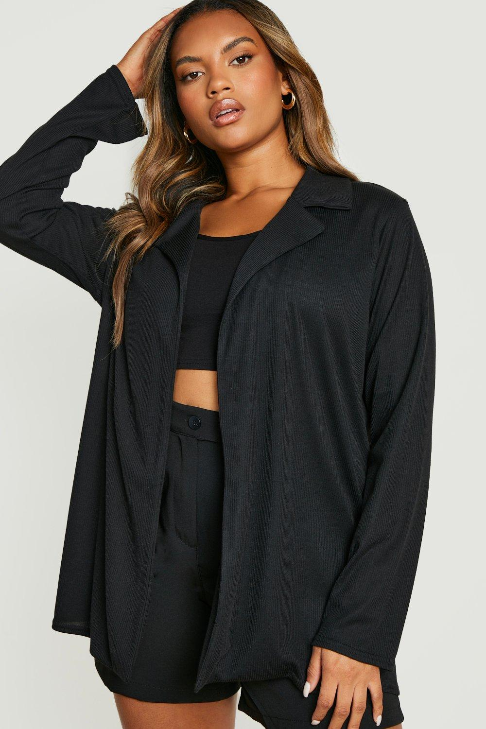 boohoo Womens Plus Textured Rib Blazer - Black - 16, Black