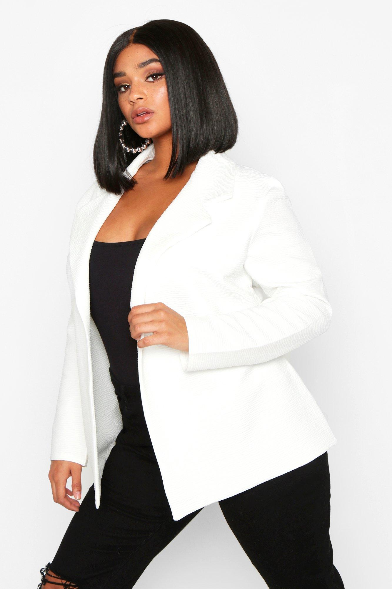 boohoo Womens Plus Textured Rib Blazer - White - 20, White