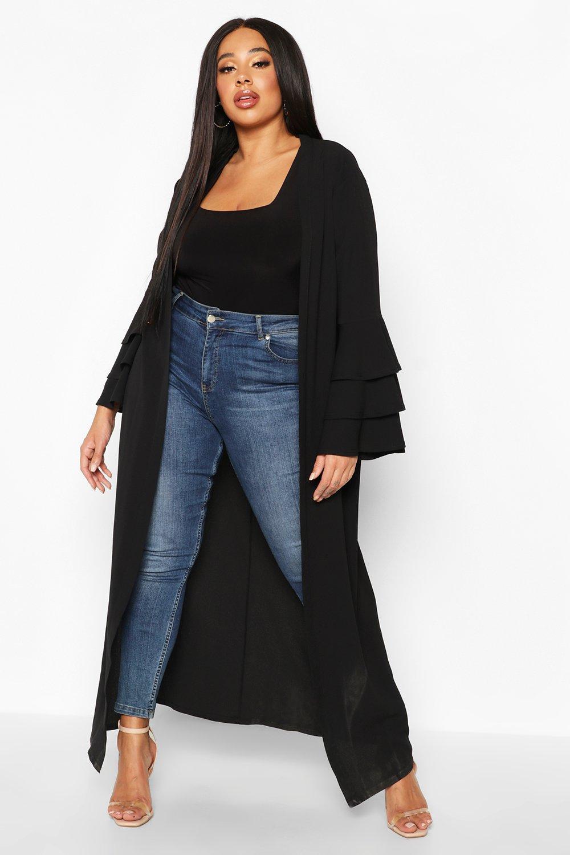 boohoo Womens Plus Ruffle Sleeve Maxi Chiffon Kimono - Black - 24, Black