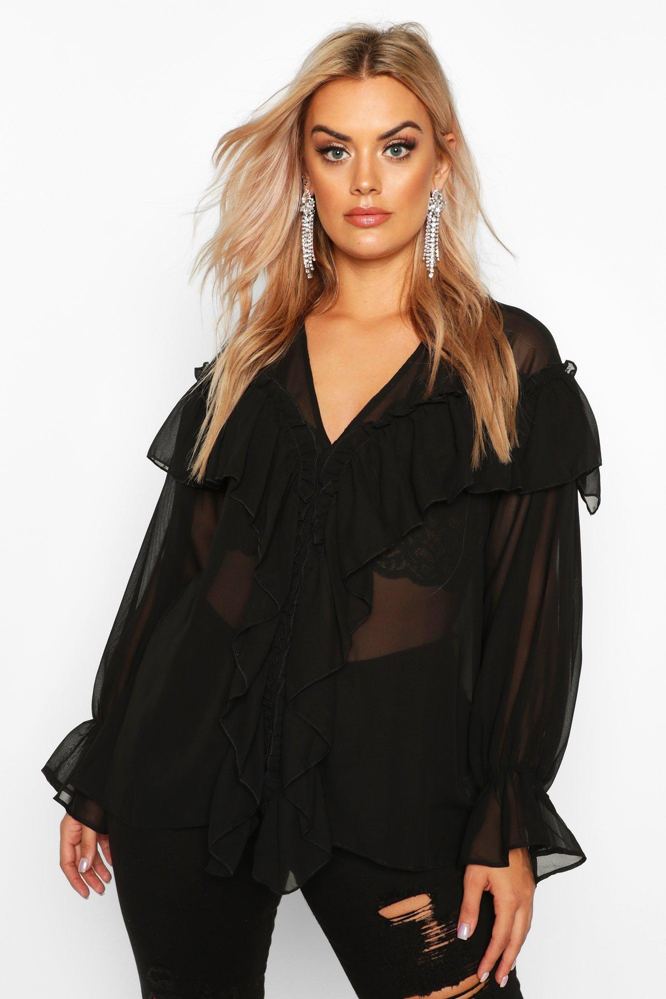 Womens Plus Web-Bluse mit Rüschendetail - schwarz - 42, Schwarz - Boohoo.com