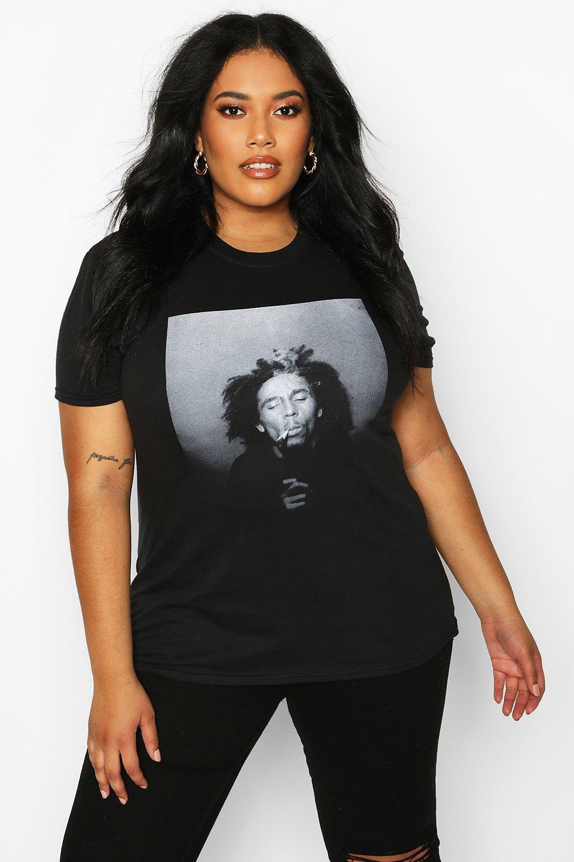 "Womens Plus T-Shirt mit lizenziertem ""Bob Marley""-Print - schwarz - 44, Schwarz - Boohoo.com"