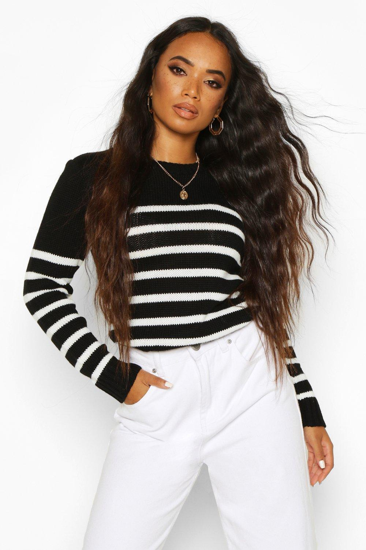 Womens Petite Oversized Pullover mit Streifen - schwarz - S, Schwarz - Boohoo.com