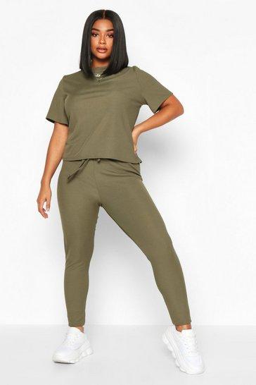 Khaki Plus Rib T-Shirt + Legging Co-Ord