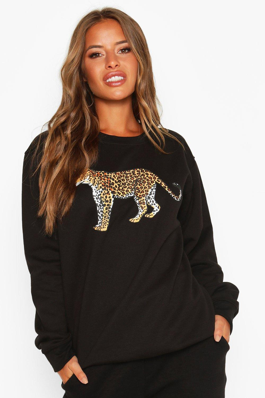 Womens Petite Oversized Sweatoberteil mit Leoparden-Print - schwarz - S, Schwarz - Boohoo.com