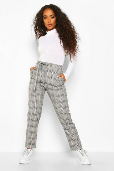 Stone Petite Belted Woven Check Tapered Trousers