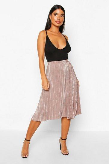 Taupe Petite Pleated Plissé Midi Skirt