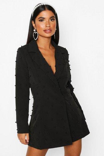 Black Petite Pearl Detail Blazer Dress
