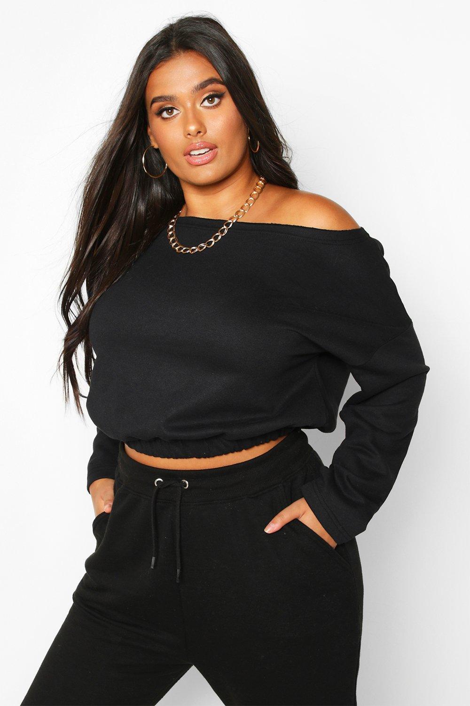 Womens Plus Basic-Sweatshirt mit hängender Schulter und geschlitztem Ausschnitt - schwarz - 44, Schwarz - Boohoo.com