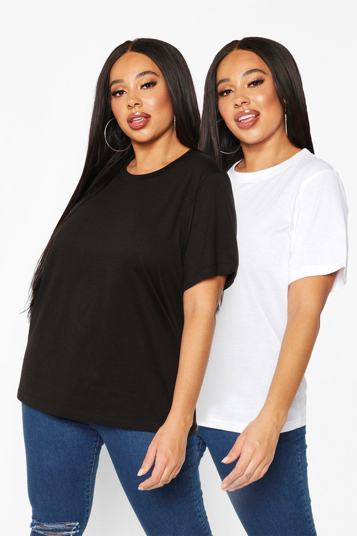 Womens Plus 2er-Pack Schlichte T-Shirts mit Umhangärmel - Mehrfarbig - 44, Mehrfarbig - Boohoo.com