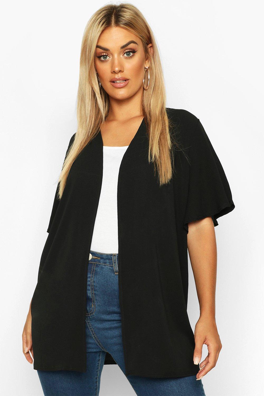 Womens Plus Gewebter Kimono mit Engelsärmeln - schwarz - 42, Schwarz - Boohoo.com