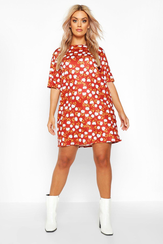 Womens Plus Floral Cap Sleeve T-shirt Dress - berry - 42, Berry - Boohoo.com