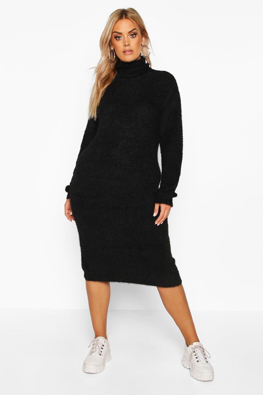 Womens Plus Weiches, gestricktes Midi-Pulloverkleid mit Rollkragen - schwarz - 42, Schwarz - Boohoo.com