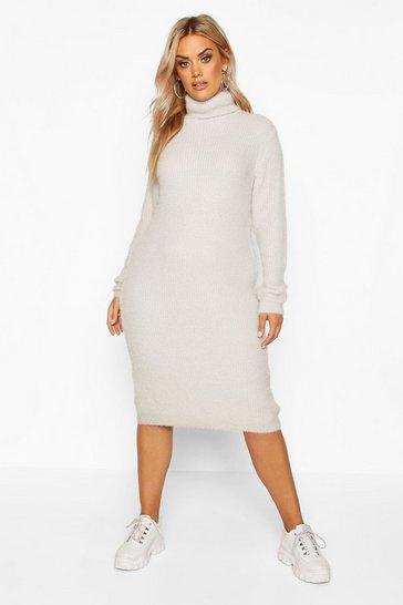 Light grey Plus Premium Soft Knit Roll Neck Midi Jumper Dress