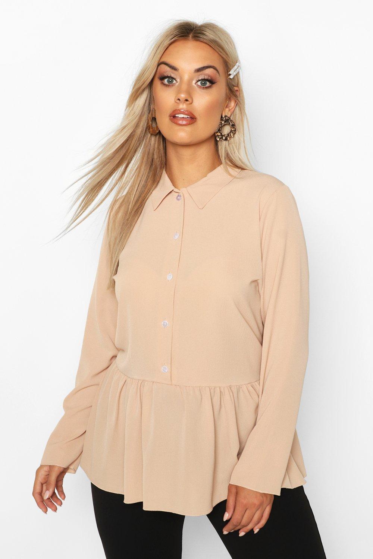 Womens Plus Peplum Hem Shirt - camel - 50, Camel - Boohoo.com