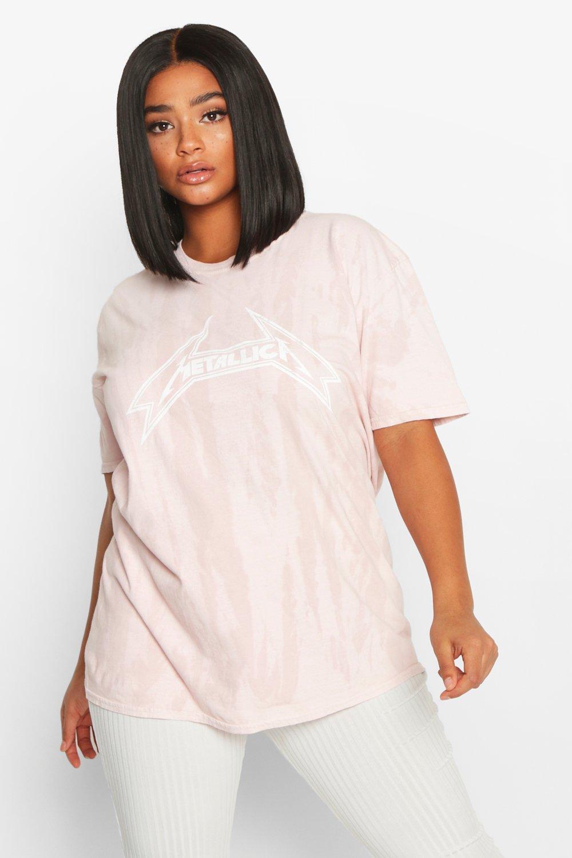 """Womens Plus T-Shirt mit Waschung und lizenziertem """"Metallica""""-Print - Pfirsich - 46, Pfirsich - Boohoo.com"""
