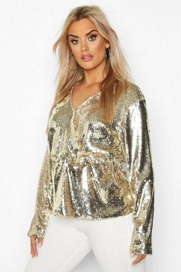 Gold Plus Sequin Wrap Peplum Top