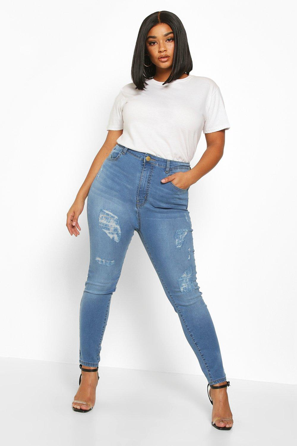 boohoo Womens Plus High Waisted All Over Ripped Skinny Jean - Blue - 18, Blue