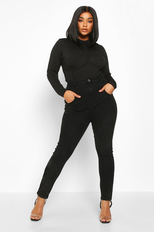 Плюс сайз — Скинни джинсы с высокой талией и скульптурными стежками