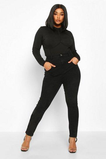 Black Plus High Waisted Sculpt Stitching Skinny Jean