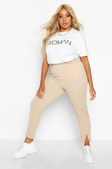 Biscuit Plus High Waisted Tapered Trouser